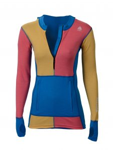 Aclima_WarmWool_Hoodie w_zip_Woman_brilliant blue-calypso coral-sudan brown_04_preview