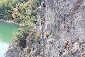 Youngsters tackle via ferrata during the Ternua and CREPS project supported by an itsgreatoutthere grant (002)